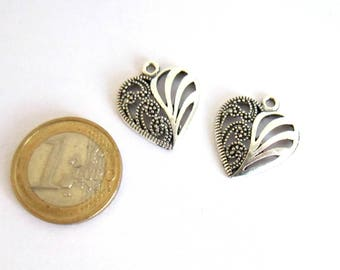 2 charms silver openwork heart 22 x 19 mm