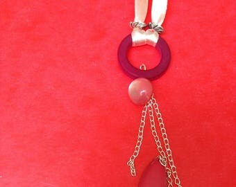 long necklace mi double pale pink ribbon and pink charms