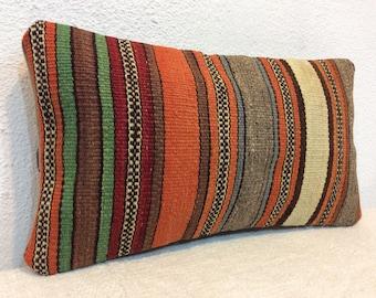 Lumbar kilim pillow,Small pillow cover,8 x 16 inches pillow cover,Decorative throw pillow,Home decor,kilim lumbar pillow,Organic pillow