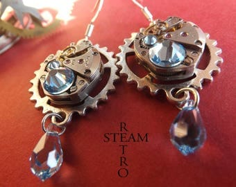 Aquamarine Swarovski earrings Retro Steampunk watch movement