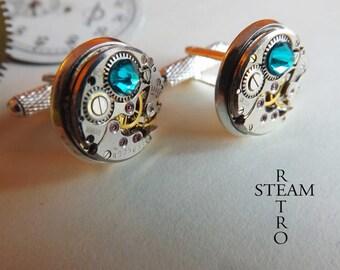 Steampunk cufflinks blue zircon Steamretro - Steampunk Men cuff links - cuff links wedding cuff links