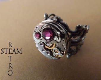 Amethyst filigree steampunk ring