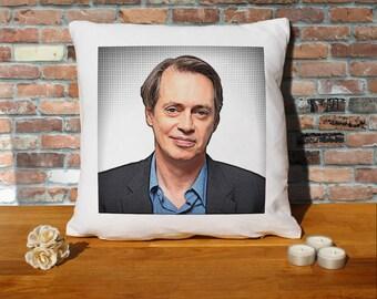Steve Buscemi Pillow Cushion - 16x16in - White