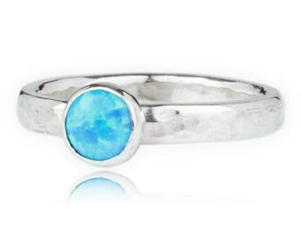 handmade opal and sterling silver hammered band ring