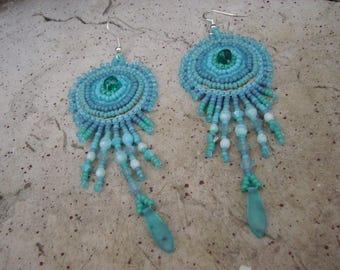 """Embroidered earrings """"Océan"""""""