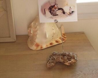drift wood and aluminum wire photo holder
