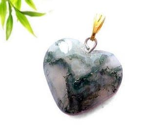 Heart pendant plated gold - Moss agate