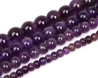 Round bead Amethyst 6mm x 15 (grade AAA)
