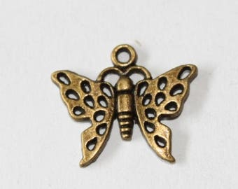charm bronze Butterfly 20 * 17 mm, set of 5 mm
