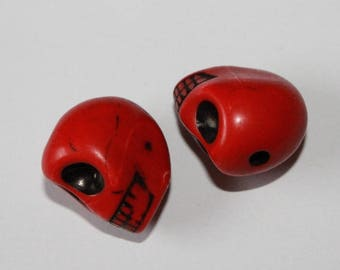 Large skull, red, 17 * 13 mm, the pair