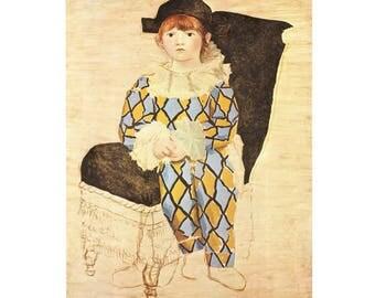 Pablo Picasso  - Pual en arlequin Lithograph print 16W x 12 H