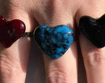 Heart shaped fused glass ring