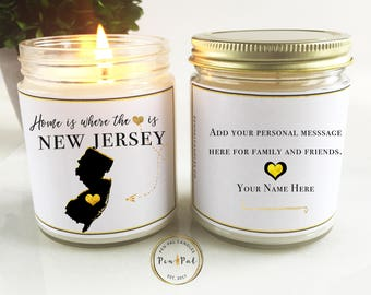 New Jersey State Scented Candle //  Moving Gift // Home Is Where the Heart Is // Miss You Gift // Scented Soy Candle // New Home Gift