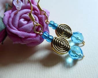 Blue and gold spiral bead earrings