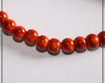 SET of 135 beads glass Orange Marbrees Ø 6 mm m2558