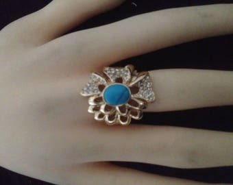 Plated ring gold, Pearl flat & rhinestones size 60