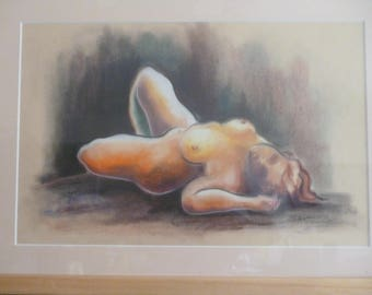 Female nude in pastels