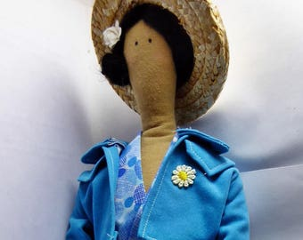 Large blue doll with Hat and his inspiration Tilda duck