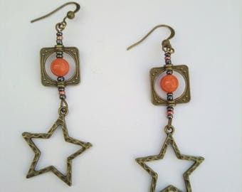 Star earrings and Pearl coral