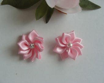 Set of 2 flower appliques pink 25 mm rhinestone