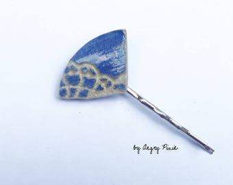 Lace hair clip pin retro ceramic blue pattern