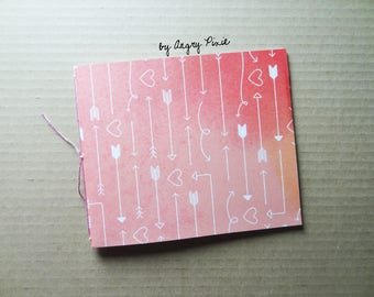 Little pink handmade notebook pattern hearts and arrows
