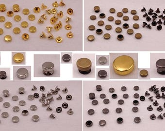 Rivet flat pile studs 8 mm x 6 mm 25 pieces for customisation DIY clothing, bag, shoes, belts, gloves, jeans ornament