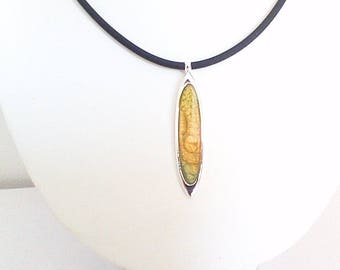 Oval Pendant Necklace, golden brown and orange green, light collection.
