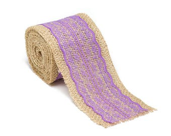 """2.5"""" Wide x 10 Yards Long Natural Burlap Craft Ribbon with Lace (Jute Ribbon, Burlap Tape, Rustic Decor) with Lavender Lace"""
