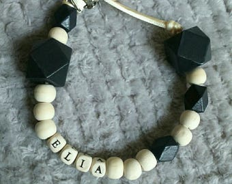 "Pacifier pattern wood ""Elia"" beads"