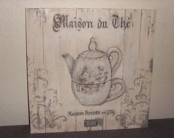 "PAINTING WOODEN BOARD ""TEAPOT"""