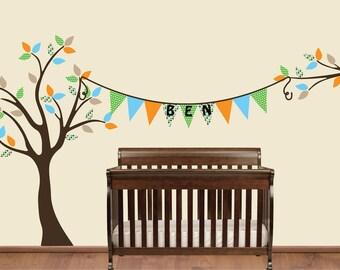 Bunting Tree Decal, Bunting Wall Decal, Name Decal, Nursery Tree Decal, Tree Branch Sticker, Nursery Decor, Wall Mural, Custom