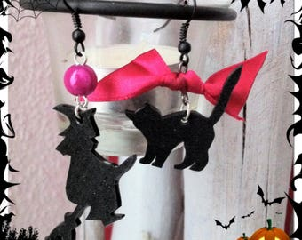 """Earrings """"witches"""" plastic crazy black rose"""