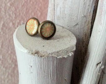 Gel bronze Stud Flower Earrings