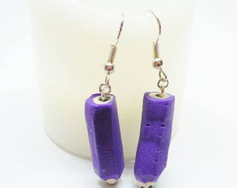 Earrings purple polymer pencils