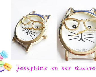 1 gold watch cat glasses 4 cm