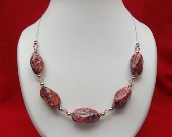 Pink marbled stone necklace
