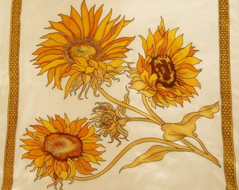 Large sunflower hand - painted silk scarf