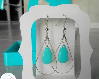 Earrings Creole sequin drop turquoise blue