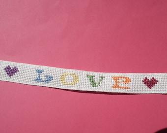 Bracelet embroidered love