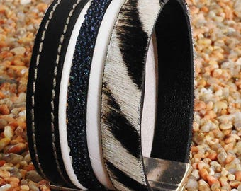 Cuff Bracelet black and white leather and fur Zebra
