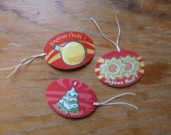 3 decorative red Christmas gift tags