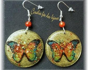 Butterfly resin Crystal/glitter, magic beads earrings
