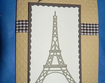 eiffel tower Paris tone kraft and brown card