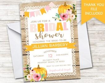 Pumpkin Bridal Shower Invite Invitation Rustic Country Chic Digital Halloween Thanksgiving Bachelorette  Digital 5x7