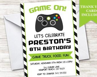 Game Truck Invitation Invite Gamer 5x7 Digital Birthday Game On Video Gaming Party Boy Green Black