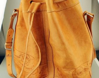 Vintage Tooled Leather Purse, Hobo Bag, Brown Bucket Purse