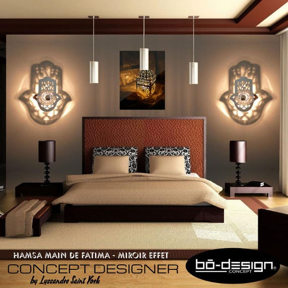 luminaire design applique orientale hamsa main de fatima 30x25. Black Bedroom Furniture Sets. Home Design Ideas