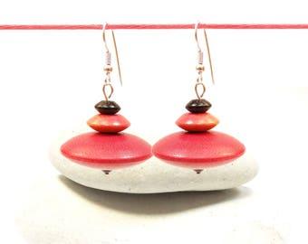 Lightweight earrings ethnic exotic wood