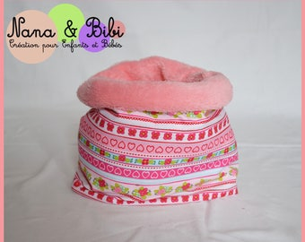 SNOOD - Neck pink and pink cotton fabric
